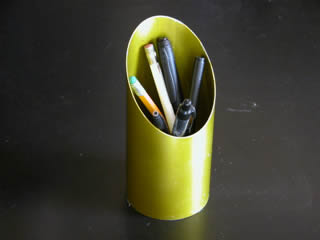 Pencil holder made from Lionel Hampton M75 Vibe resonator tube.