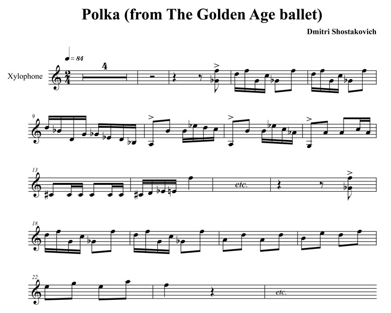 Shostakovich - Polka from The Golden Age (xylophone excerpt)
